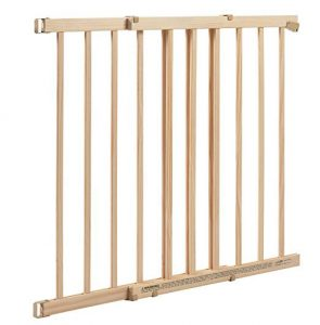 Best Baby Gate Top of Stairs: Evenflo Extra Tall Top-of-Stair Gate shown in wood