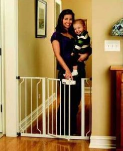 Baby Gates Top of Stairs: Regalo Easy Step Walk Thru Gate shown with mother and baby opening the gate