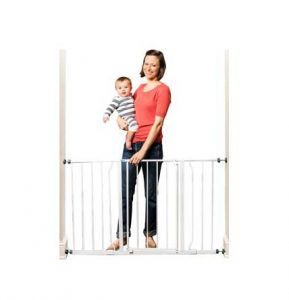 Extra Wide Baby Gates: Regalo Easy Open shown with a mother holding a baby