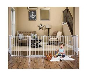 Extra Wide Baby Gates: Regalo 192-Inch Super Wide Gate/Play Yard shown in a living area with child playing close by
